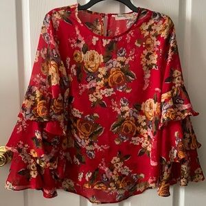 Floral Red top with long sleeves